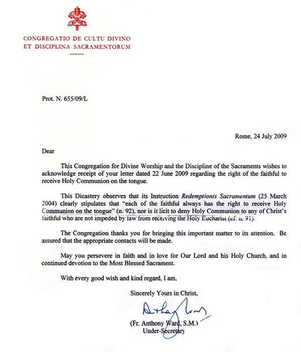 Dokument Kongregacjie za bogoslužje in disciplino zakramentov